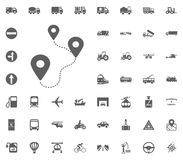 Location a to b icon. Transport and Logistics set icons. Transportation set icons.  Royalty Free Stock Photo