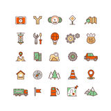 Location and travelling flat vector icons Stock Photos
