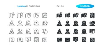 Location UI Pixel Perfect Well-crafted Vector Thin Line And Solid Icons 30 2x Grid for Web Graphics and Apps. Simple Minimal Pictogram Part 2-4 Royalty Free Stock Images