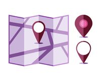 Location violet map with different purple pointer on white. Background. Illustration flat design, vector icon for navigation and locating Royalty Free Stock Images