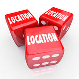 Location Words Three Dice Gamble Best Place Area. Location words on three red dice to illustrate betting, gambling or risking it all on finding the best area Stock Images