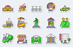 Locations and city icons set in line simple and thin style. Vec royalty free illustration