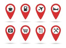 Locations icons. A collection of map markers with service marks. Vector illustration. Red flat locations vector illustration