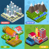 Locations 4 isometric Icons Square Royalty Free Stock Photos