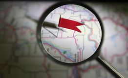 Locator pin magnified Stock Photo