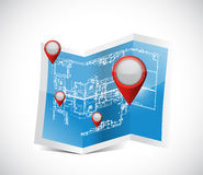 Locator pointers blueprint illustration design Royalty Free Stock Image