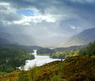 Loch Affric view. View over Loch Affric Scottish Highlands during stormy weather stock image