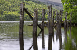 Loch Archaig, Scotland. Loch Archaig, Highlands, Scotland with derelict jetty Stock Photography