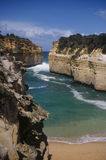 Loch Ard Gorge. Is named after a ship that was wrecked off this coastline in 1878. This beach and gorge is one of the highlights of Australia's Great Ocean Road Stock Photography