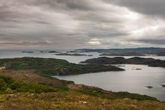Loch Ardhair and Atlantic Ocean, Scotland. Stock Images