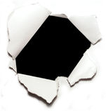 Loch auf Papier stockbild