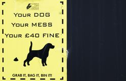 Loch Awe, Argyll , Scotland - May 15 2017 : Sign warning Your dog your mess 40GBP fine royalty free stock photo