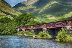 Loch Awe bridge. Red bridge near Loch Awe and Kilchurn Castle, Scotland Stock Photo