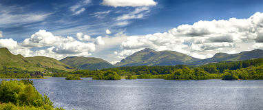 Loch Awe Scotland. Landscape panorama of Loch (lake) Awe, with the ruin of castle Kilchurn to the left. Scotland, Europe Royalty Free Stock Photo