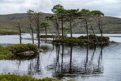 Loch Awe in Wester Ross, Scottish Highlands. Adventure, britain. At cloudy day Stock Photos