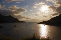 Loch Carron meeting the sea, Scotland royalty free stock image