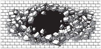 Loch, das durch breite Backsteinmauer bricht