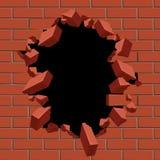 Loch in der Wand des roten Backsteins heraus explodierend, vector Illustration Stockbild