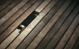 Loch des defekten hölzernen Plankenbodens Stockbild