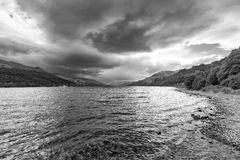 Loch Earn black and white. Landscape black and white view of Loch Earn in the highlands of Scotland Royalty Free Stock Images