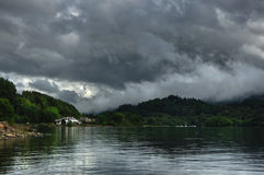 Loch Earn with coast view on St. Fillans village Royalty Free Stock Photo