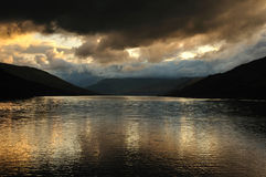 Loch Earn View from St. Fillans. Nicely coloured sunset on Loch Earn, Scotland, Loch Lomond and Trossachs National Park Royalty Free Stock Photos