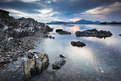 Loch Eishort and Mountains on the Isle of Skye. Loch Eishort view and Cuillin Mountains on the Isle of Skye in Scotland royalty free stock image