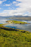 Loch Eriboll. Scenic view of cloudscape reflected on Loch Eriboll, Highlands, Scotland stock photo