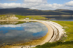 Loch Eriboll beach, northern Scotland. Nice bay at Loch Eriboll, northern Scotland with clouds and their reflexes in water royalty free stock images