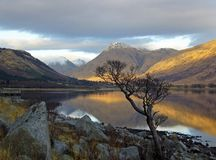 Loch Etive. View of snow capped moutains over loch Etive Stock Photos