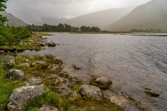Loch Etive at Buachaille Etive Mor in Autumn. Buachaille Etive Mor in the Scottish Highlands, Scotland Royalty Free Stock Photos