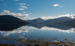 Loch fynne scotland. Mountains reflected in loch awe scotland Royalty Free Stock Photo