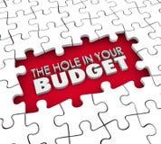 Loch in Ihrem Budget-Finanzdefizit-Schuld-Konkurs-Puzzlespiel Lizenzfreie Stockfotos
