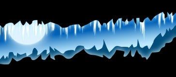 Loch im Berg mit Eiszapfen lizenzfreie abbildung