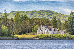 Loch Katrine Digital Painting Stockbilder