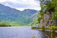 Loch Katrine Katrine Lake in Highlands, Scotland. Beautiful lake in middle of nature and mountains stock photo
