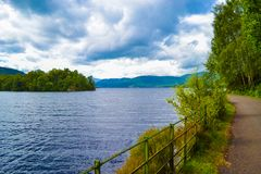 Loch Katrine Katrine Lake in Scottish Highlands. Beautiful lak royalty free stock images