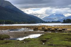 Loch Leven and Grampian Mountains. Valley in Glencoe, Scotland, Great Britain royalty free stock image