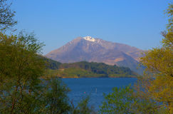 Loch Leven Scotland uk view to Glen coe snowy mountain Stock Images