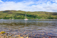 Loch Linnhe. Sailing boats on Loch Linnhe, Scotland stock photo
