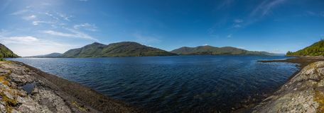 Loch linnhe in scotland, summer time and travel. Scottisch nature Royalty Free Stock Photography