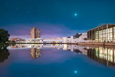 Loch Logan Waterfront at night with stars in the sky in Bloemfontein