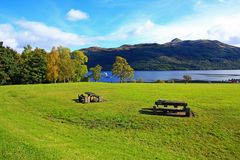 Loch Lomond, Tarbet在英国10月,苏格兰, 库存图片