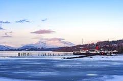 Loch Lomond i vinter Arkivfoton