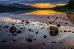 Loch Morlich al tramonto Fotografie Stock