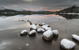 Loch Morlich and the Cairngorms in Scotland. Royalty Free Stock Photos