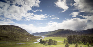 Loch and mountain landscape in the cairngorm national park, scot Royalty Free Stock Photos