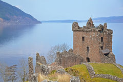 Loch Ness Castle. View of Loch Ness and Urquhart Castle, Scotland Royalty Free Stock Photo