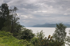 Loch Ness. Looking down the east shore of Loch Ness from near Dores in the Highlands of Scotland Royalty Free Stock Image