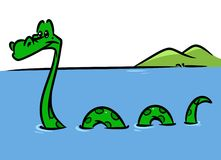 Loch Ness Monster cartoon illustration Royalty Free Stock Images
